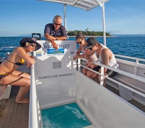 Enjoy a trip on the glass bottom boat with reef interpretation by our skipper